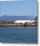 airplane on airport Corfu island Greece Metal Print