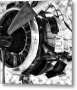 Airplane Propeller And Engine T28 Trojan 02 Bw Metal Print