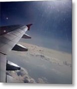 Airplane Wing In Clouds Metal Print
