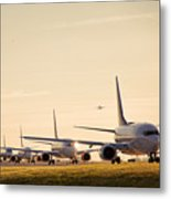 Airplanes Lining Up For Take-off Metal Print