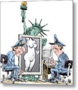 Airport Security And Liberty Metal Print