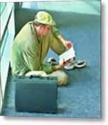 Airport Wait Metal Print