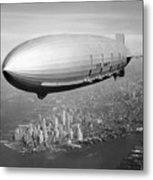 Airship Flying Over New York City Metal Print