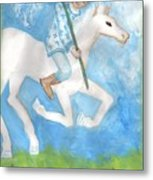 Airy Knight Of Wands Metal Print