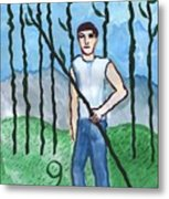 Airy Nine Of Wands Illustrated Metal Print