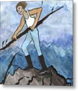 Airy Seven Of Wands Illustrated Metal Print