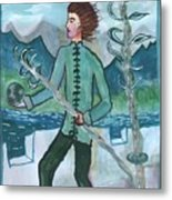 Airy Two Of Wands Illustrated Metal Print