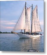 Aj Meerwald Sailing Up River Metal Print