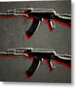 Ak47 Assault Rifle Pop Art Metal Print by Michael Tompsett
