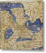 Al-idrisi's World Map, 1154 Metal Print