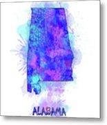 Alabama Map Watercolor 2 Metal Print
