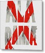 Alabama Typography Map Flag Metal Print