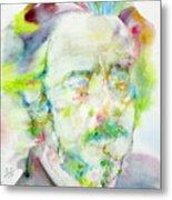 Alan Watts - Watercolor Portrait.3 Metal Print