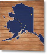 Alaska Map And Flag On Wood Metal Print