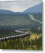 Alaska Pipeline Heading South Thru Metal Print