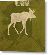 Alaska State Facts Minimalist Movie Poster Art Metal Print