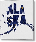 Alaska Typography Map Flag Metal Print