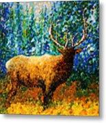 Alaskan Elk Original Madart Painting Metal Print