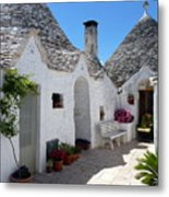 Alberobello Courtyard With Trulli Metal Print