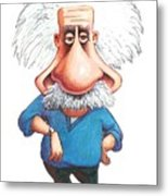 Albert Einstein, Caricature Metal Print