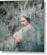 Albino In Forest Metal Print