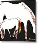 Albino Mare And Colt Metal Print