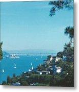 Alcatraz And San Francisco - Oakland Bay Bridge  Metal Print