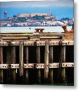 Alcatraz Beyond The Pier Metal Print