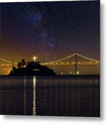 Alcatraz Island Under The Starry Night Sky Metal Print