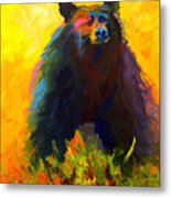 Alert - Black Bear Metal Print