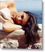 Alexis In Santorini Iv Metal Print