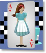 Alice 3d Flying Cards Metal Print