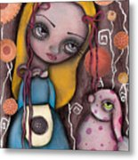 Alice And The Pink Bunny Metal Print