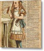 Alice In Wonderland Drink Me Vintage Dictionary Art Illustration Metal Print