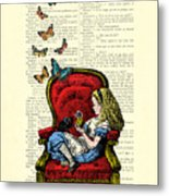 Alice In Wonderland Playing With Cute Cat And Butterflies Metal Print