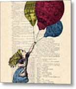 Alice In Wonderland With Big Colorful Balloons Metal Print
