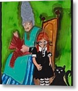 Alice Pinched The Cat Metal Print
