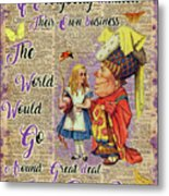 Alice With The Duchess Vintage Dictionary Art Metal Print