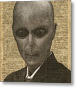 Alien Over Dictionary Page Metal Print