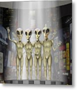 Alien Vacation - Beamed Up From Time Square Metal Print