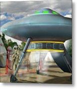Alien Vacation - Gasoline Stop Metal Print