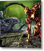Alien Vs Iron Man Metal Print by Pete Tapang