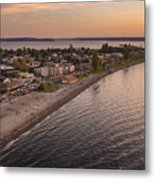 Alki Point Aerial Sunset Metal Print