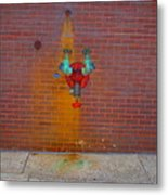 All Alone Red Pipe Metal Print