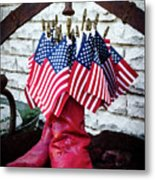All American Flag And Red Boots - Painterly Metal Print