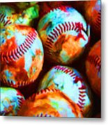 All American Pastime - Pile Of Baseballs - Painterly Metal Print