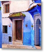 Alleyway In The Blue City Metal Print
