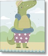 Alligator On The Beach Metal Print