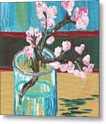 Almond Blossoms In A Glass Metal Print