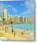 Aloha From Hawaii - Waikiki Beach Honolulu Metal Print